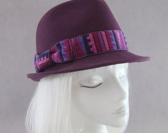 Purple Fedora. Plum Wool Felt Hat. Women's Purple Felt Trilby w/ Pink Vintage Trim. Violet Felt Fedora. Millinery Hat for Purple Lover.