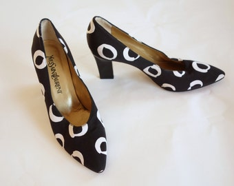 1980s Yves Saint Laurent heels, black and white, new wave, pattern pumps, fabric upper designer shoes, size 6 to 6.5