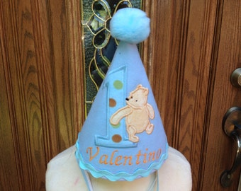 Classic Winnie The Pooh Boys Birthday Hat - 1st Birthday Hat