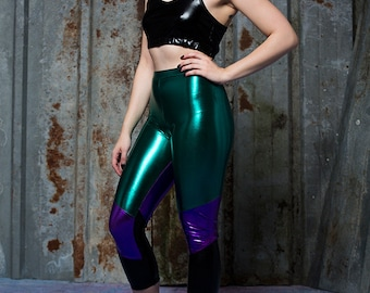 Patchwork Leggings in Metallic Emerald Green Lycra with Digital Print Panels by Get Crooked