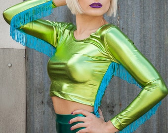 Foil Fringe Top in Metallic Light Green Lycra by Get Crooked