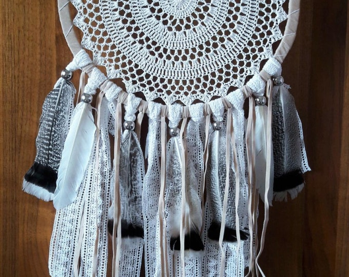 Big Crochet Dream Catcher with feathers.