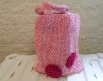 Lovely knitted bag in shades of pink and matchingfelt  flowers, schoolbag, handbag, little girls bag