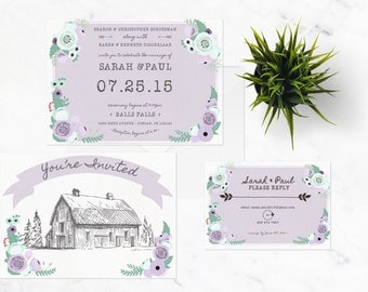 THE COUNTRY SUITE || wedding invitation, save the date, rsvp, barn wedding, hand drawn, banner, floral