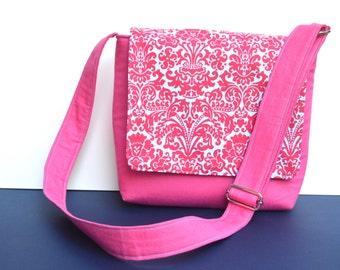 Kids Messenger Bag - Damask Turquoise Pink