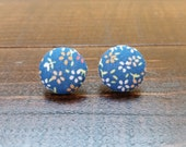 Blue Floral Button Earrings, Fabric Button Earrings, Stud Earrings, Handmade Jewelry, Fabric Covered Button Earrings, Gifts for her