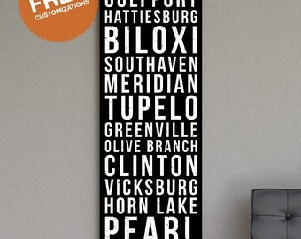 "MISSISSIPPI Wall Art - 20""x60"" Destination Sign Canvas Print. Jackson,Gulfport,Hattiesburg,Biloxi,Southaven,Meridian,Tupelo,Greenville"