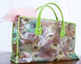 Avocado Green and Brown 1960's Tote Bag