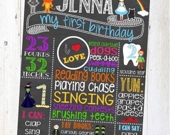 Wizard of Oz chalkboard Birthday Sign - Personalized & Printable - First Birthday Chalkboard Poster - Custom Birthday Sign - dorothy - toto