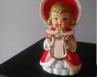 Vintage red Caroler, Girl with harp. Ceramic figurine