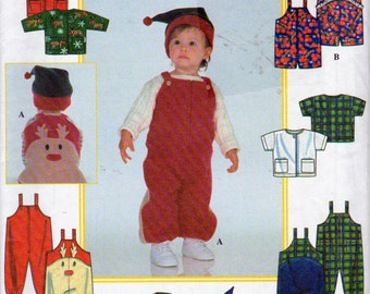 Simplicity 8392, Babies Christmas Clothing Sewing Pattern, Romper, Jacket and Knit Hat Baby Patterns, Sizes 7 to 24 Pound Babies