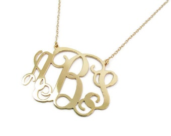 "Gold Monogram Necklace. 1"" Personalized - Sterling silver 925 Plated 18k gold. monogram jewelry, Monogram gifts. Gold initial necklace."