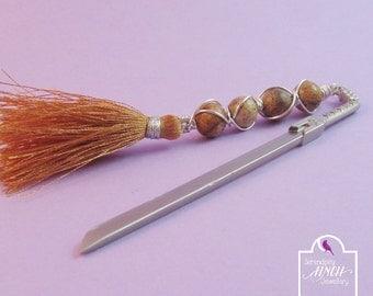 Sword Bookmark, Picture Jasper Wire Wrapped Bookmark, Fantasy Bookmark, UK