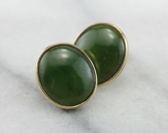 Dark Green Nephrite Jade Earrings W4VWA8-D