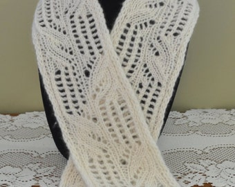 Cashmere Hand Knit Lacy Scarf Cream (Item #312)