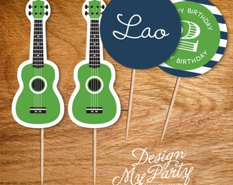 Rock Guitar Party Theme Cupcake Toppers (Personalised DIY Printables)