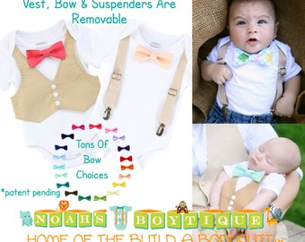 Baby Boy Wedding Outfit - Tan Mint Coral - Infant - Wedding - Baby Boy Clothes - Baby Outfit - Newborn Tuxedo - Tan Suit - Peach - Bow Tie