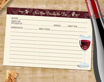 "Printable Rings in Wine Glass Recipe Card, Bridal Wedding Shower, 6""x4"", JPG Instant Download"
