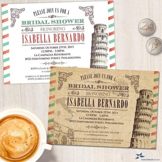 vintage italian bridal wedding shower invitation printable evite or printed invitation