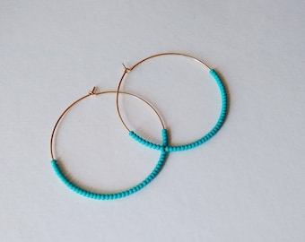 Large 14kt Gold filled hoops, turquoise hoop earrings, teal hoops,seed bead earring,round earrings,beaded earring,dainty earring,thin hoops
