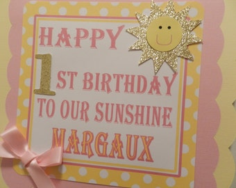 You Are My Sunshine Birthday Party Welcome Door Sign Pink and Gold