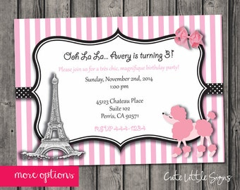 Paris Birthday Invitation Digital Download