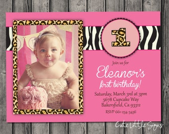 Leopard Zebra Birthday Invitation Digital Download