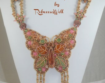 California Gold- Bead Embroidered Necklace-price just reduced!