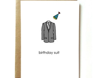 sexy, funny, naughty birthday card for boyfriend or husband. Birthday Suit.