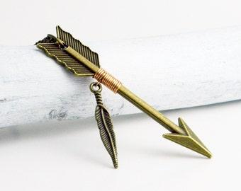 Bronze Arrow Feather Necklace ~  Arrow Jewelry ~ Archery ~ Wire Wrapped