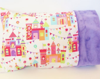 Toddler or Travel Size Pillowcase - Colorful Castles Princess Fabric - Purple Minky Pillowcase - Girl 12 x 16 Pillowcase - Toddler Girl Gift