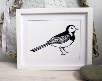 Pied Wagtail A5 Black and white print