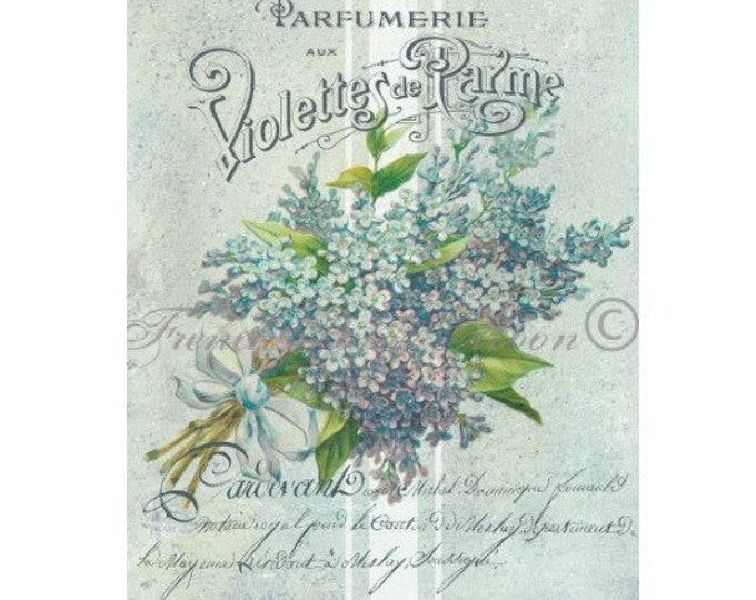 Romantic Shabby Chic Floral Image, Vintage French Digital Violets, French Digital Pillow Graphic Transfer