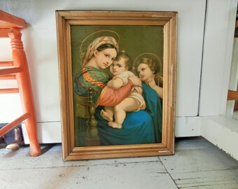 Vintage, Framed, Religious Print, Virgin And Child, Lithograph, Glossy Paper
