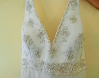 White, Wedding Gown, MORI LEE, Madeline Gardner, Beaded, Halter Top, Empire Waist,  Bridal Dress