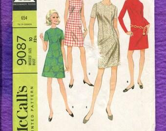 1960's McCalls 9087 Slim & A-Line Dresses Size 10 UNCUT