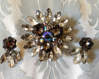 1950s Vintage Beaujewels Brooch Earring Set Smokey Jewels