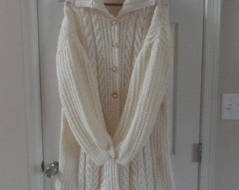 Hand knit wool sweater, sweater coat