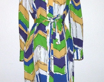 1970s MARDI GRAS Colors Shift with belt by Fred Rothchild of California Size M to L