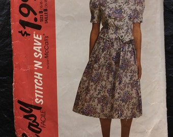 Vintage 90s Two-Piece Dress Pattern // McCall's Easy Stitch 'N Save 5789, plus sizes 16-18-20-22