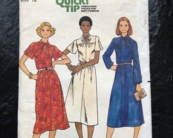 Vintage 1970s Misses' Dress with Keyhole Neckline Dress Pattern // Quick! Butterick 6000, size 14, Large, pullover