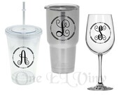 Single Initial Circle Vine Frame Monogram - Decal for DIY Projects -Tumblers, Wine Glass, Mugs, Vehicles, and more. Glass NOT Included
