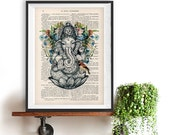 Retro Ganesha Bird Botanical Flowers Yoga poster Meditating Buddha Zen Wall Art Vintage Book Dictionary Art Print Artwork Poster Print