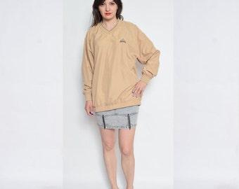 Vintage 90's Adidas Long Sleeve Jumper / Beige Adidas Top