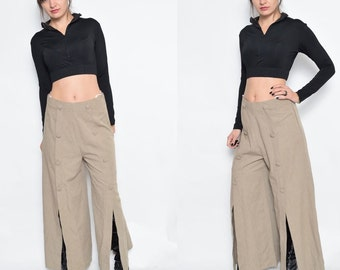 Vintage 90's Wide Leg Slit Pants / High Waist Light Brown Pants
