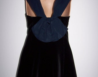 Laura Ashley vintage, black velvet, navy rear bow and folded collar,  festive dress, size  12 UK