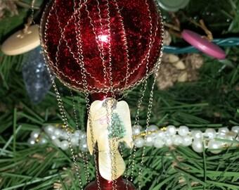 Vintage Mercury Glass & Wire Christmas Ornament