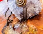 Tribal Fusion Necklace, Boho Bellydance Necklace, , Ethiopian Shield Necklace, Esoteric Necklace, Earthy Boho Necklace, Chandelier Necklace