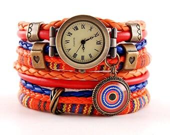 orange bracelet and a watch, cuff, stylish watch, boho