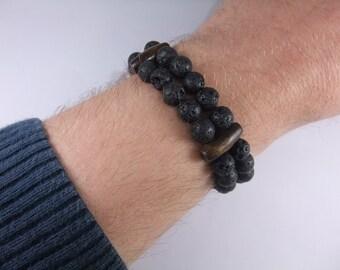 Lava stone 8mm double row men women bracelet handmade handcrafted